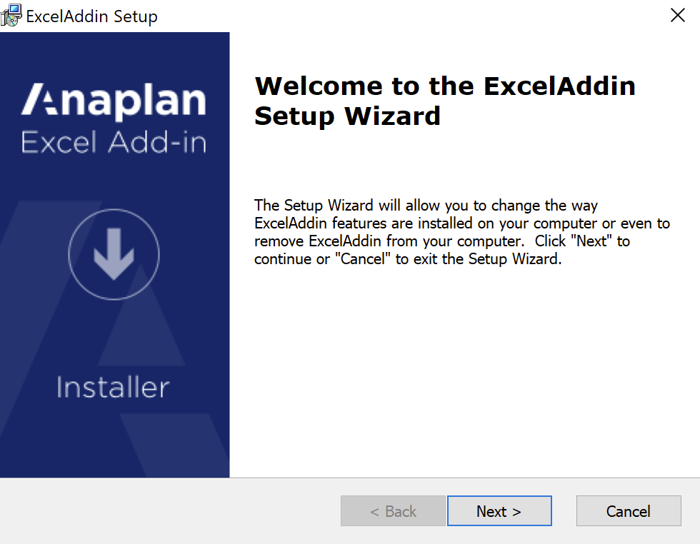 The Excel Add-in Set-up Wizard. Buttons for Next and Cancel display.