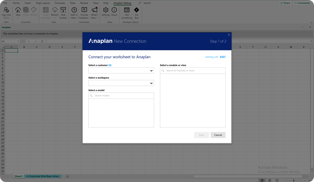 Use the New Connection dialog to connect to an Anaplan module or saved view.