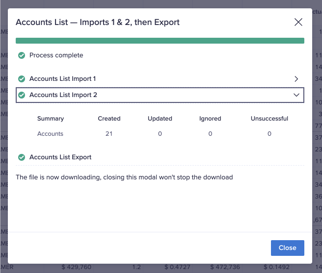 An example of the dialog that appears after a process action. This process action contains two imports and an export. The title of the second import has been selected, revealing the results of the import.