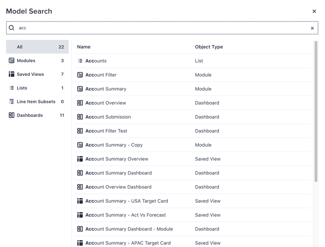 The Model Search dialog displays.
