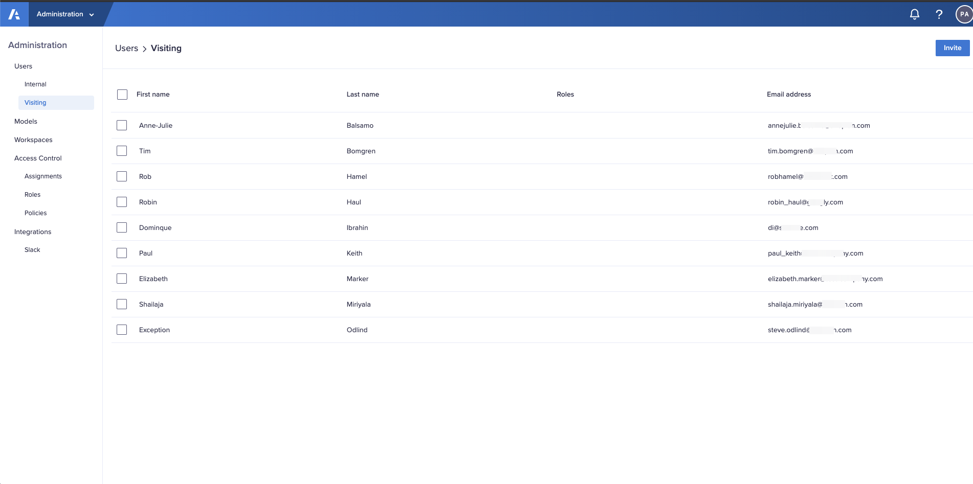 The Users > Visiting interface in the Administration console.  A list of visiting users displays with names, roles, and email addresses.