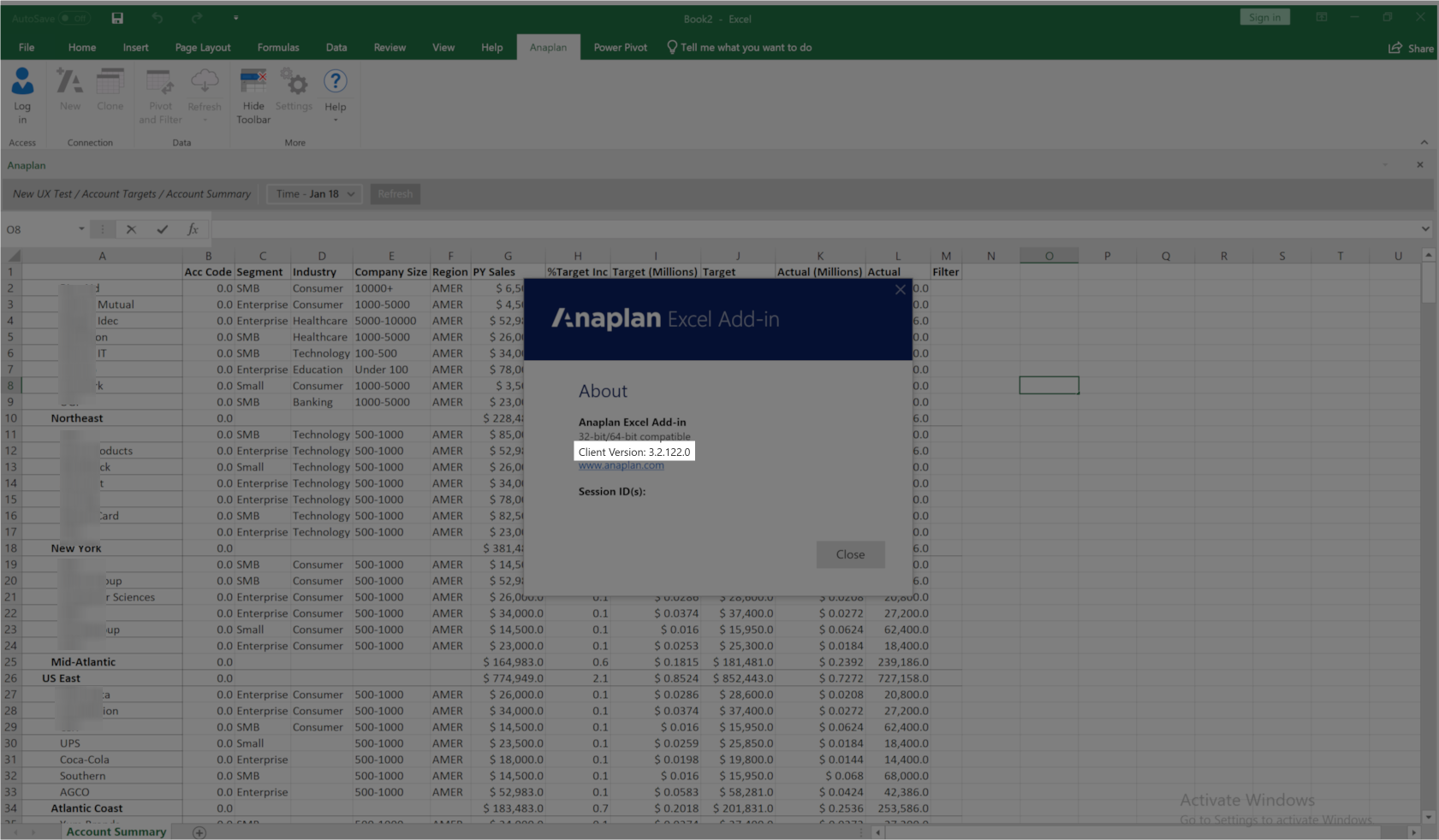 The About box has the client version of Excel Add-in listed. This is highlighted in the image.