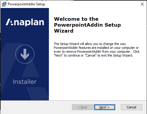 PowerPoint Add-in setup wizard