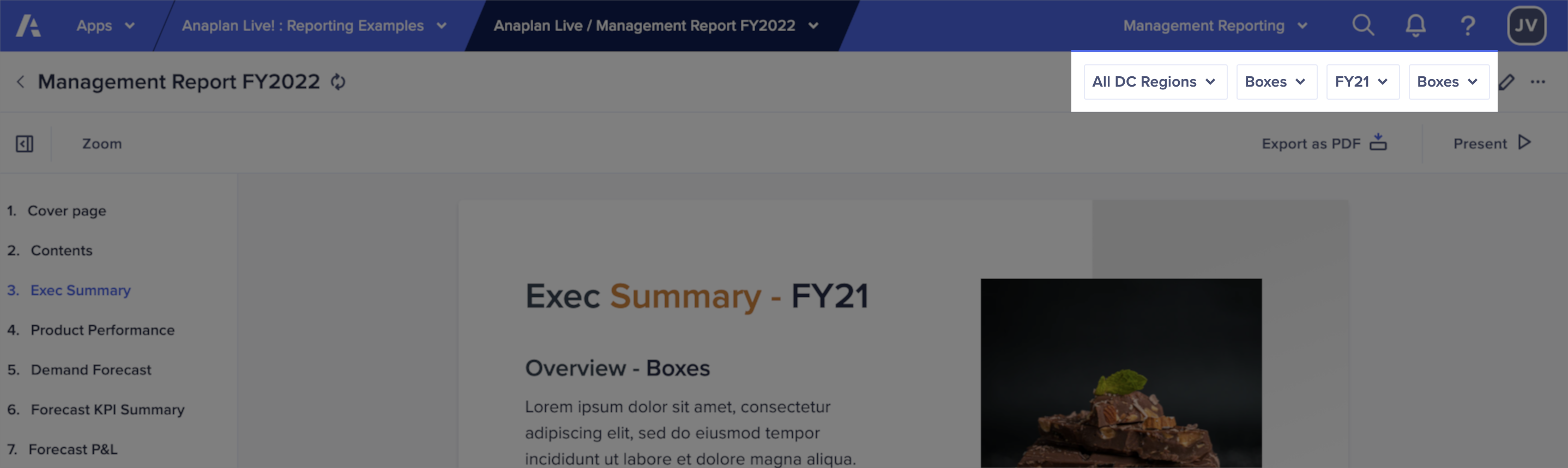 A report page with the global context selectors highlighted at the right of the toolbar.