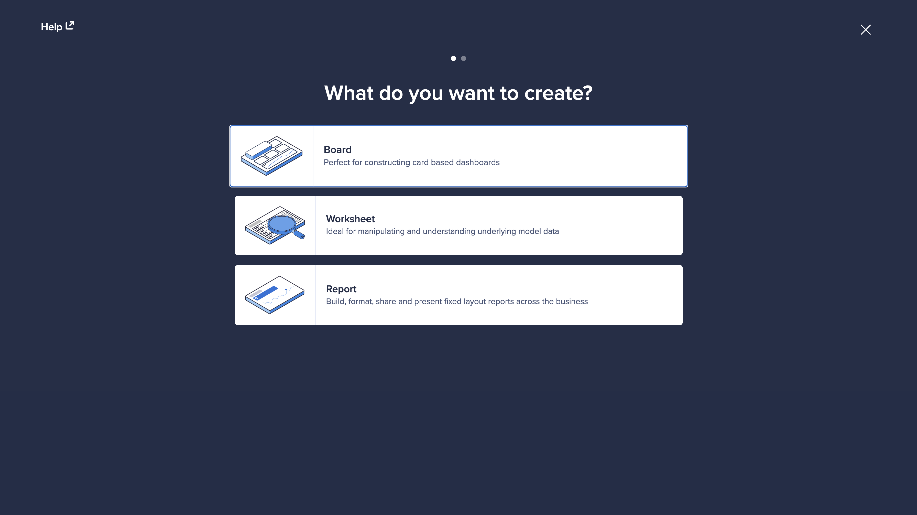 Step one of the Create a page dialog. You can select the type of page you want to create: Board, Worksheet or Report