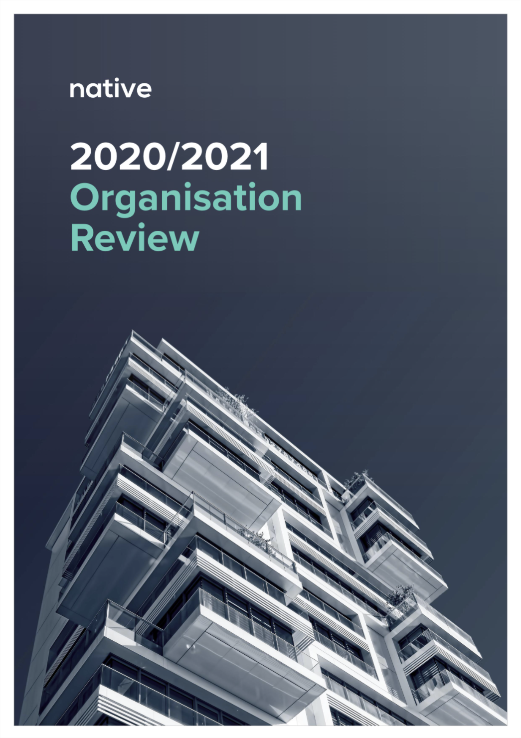 A report cover, with a background photograph of a new apartment block against a clear sky, and a styled title,