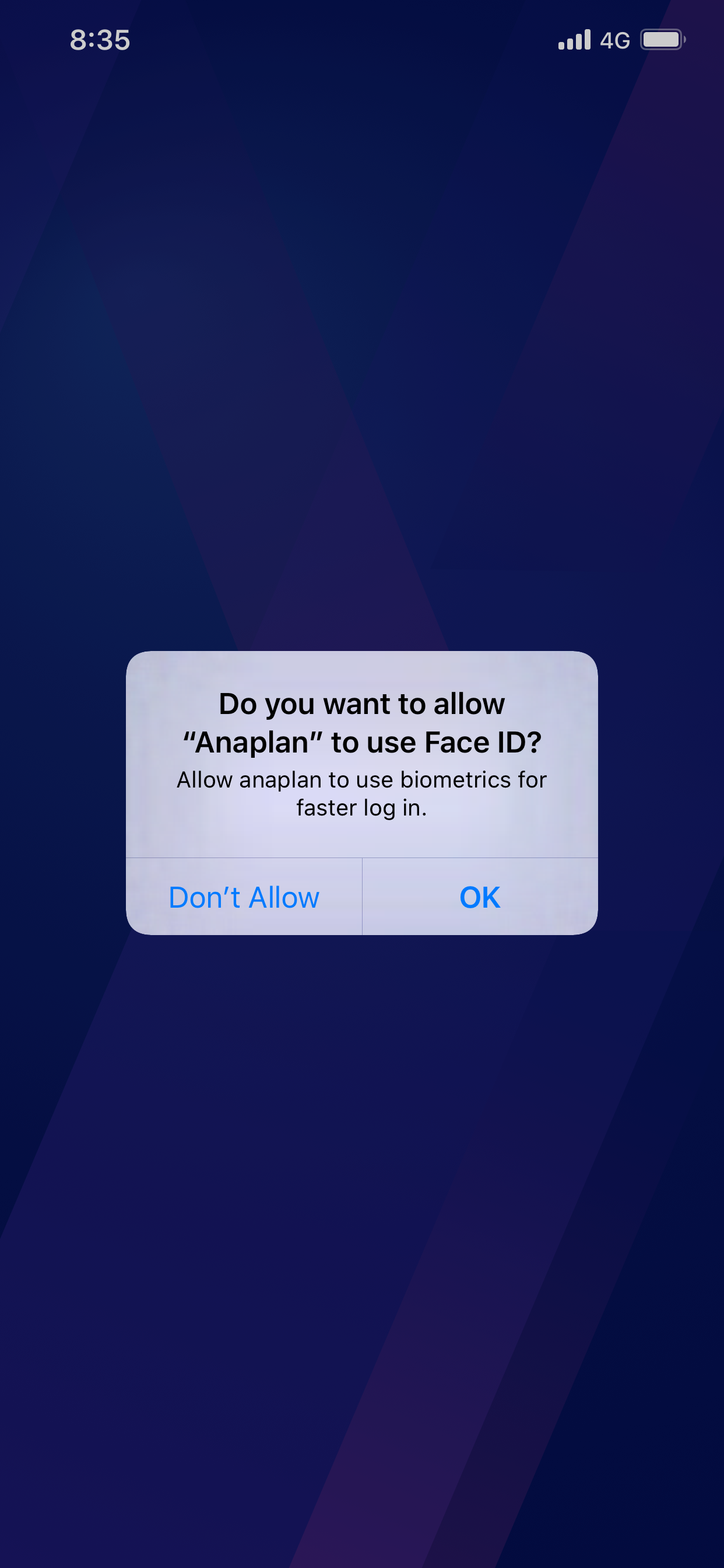 Enable Face ID dialog. Options are: Don't Allow and OK.