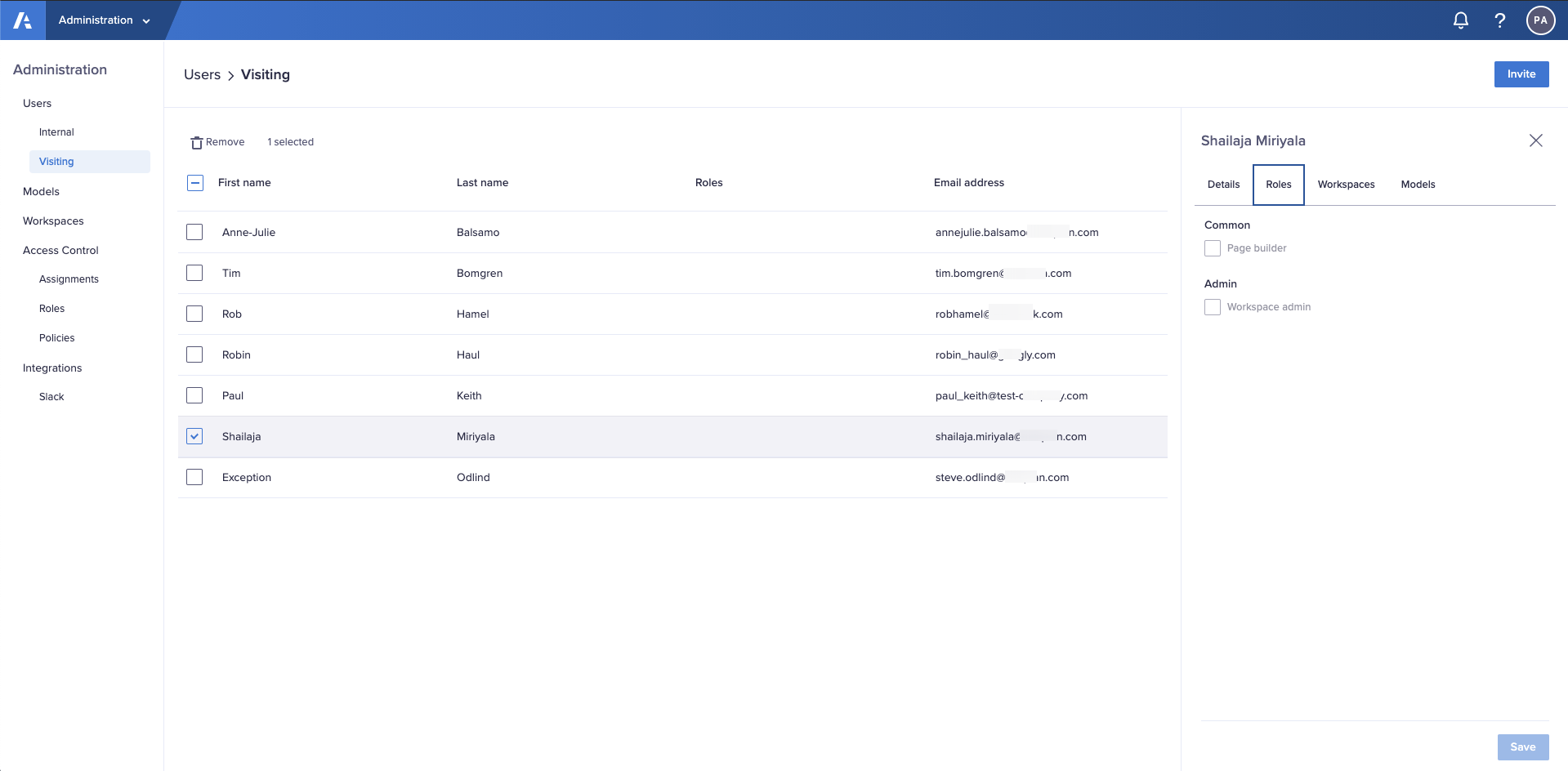 The Roles tab in the Users > Visiting interface in the Administration console.
