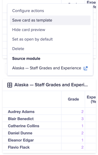 A worksheet in designer mode. Menu options display above a card. The Save card as template option is selected.