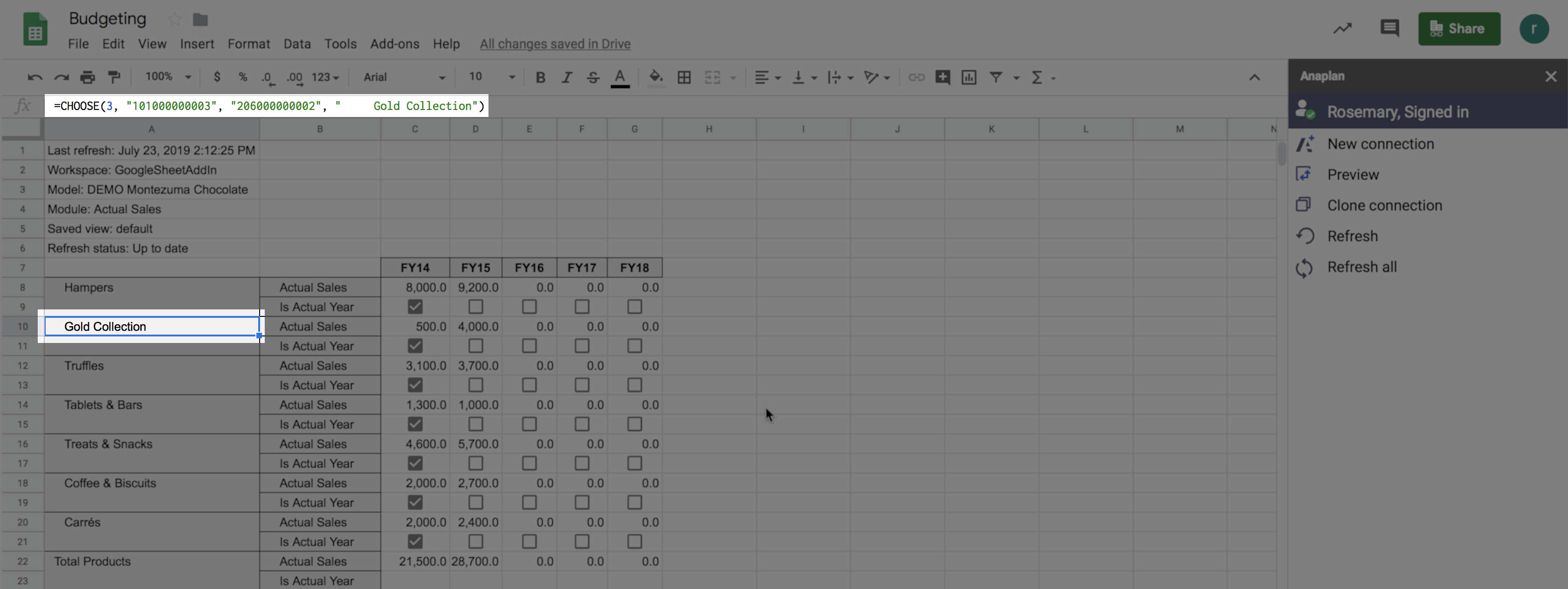 A Google Sheet with the header cell of a row selected. The formula for the cell displays in the formula bar at the top of the worksheet.