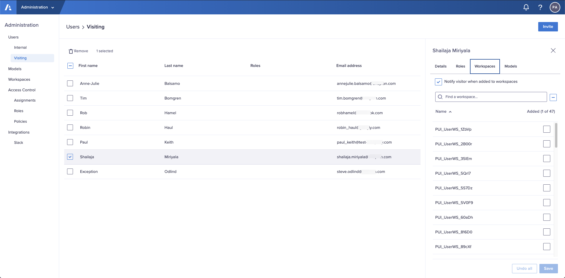 The Workspaces tab in the Users > Visiting interfaces located in the Administration console.