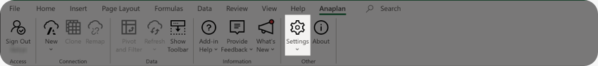 Settings button on the ribbon.