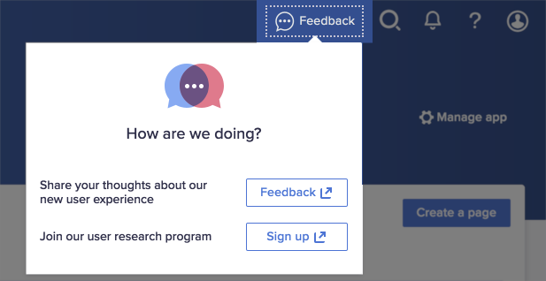 The How are we doing? dialog. The dialog displays two options: Feedback and Sign up.