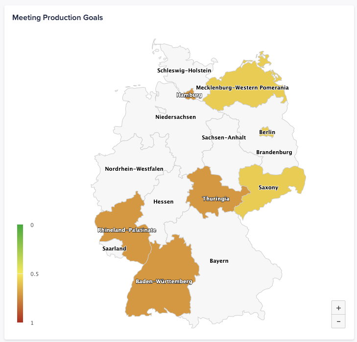 A map of Germany with conditional formatting applied to states that are matched in the source view