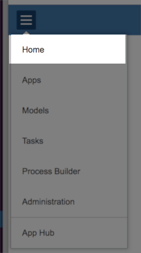Application menu with Home highlighted.