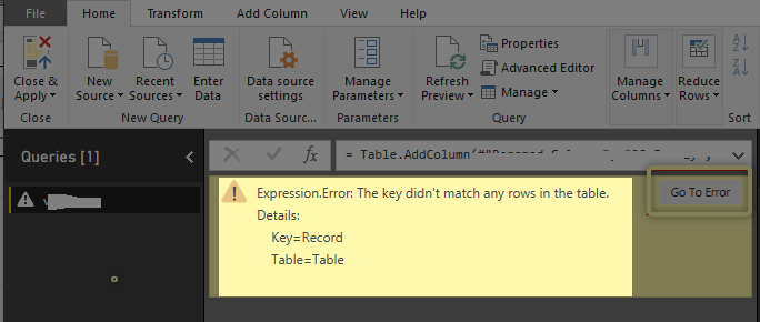 Power Query error Key and Table.