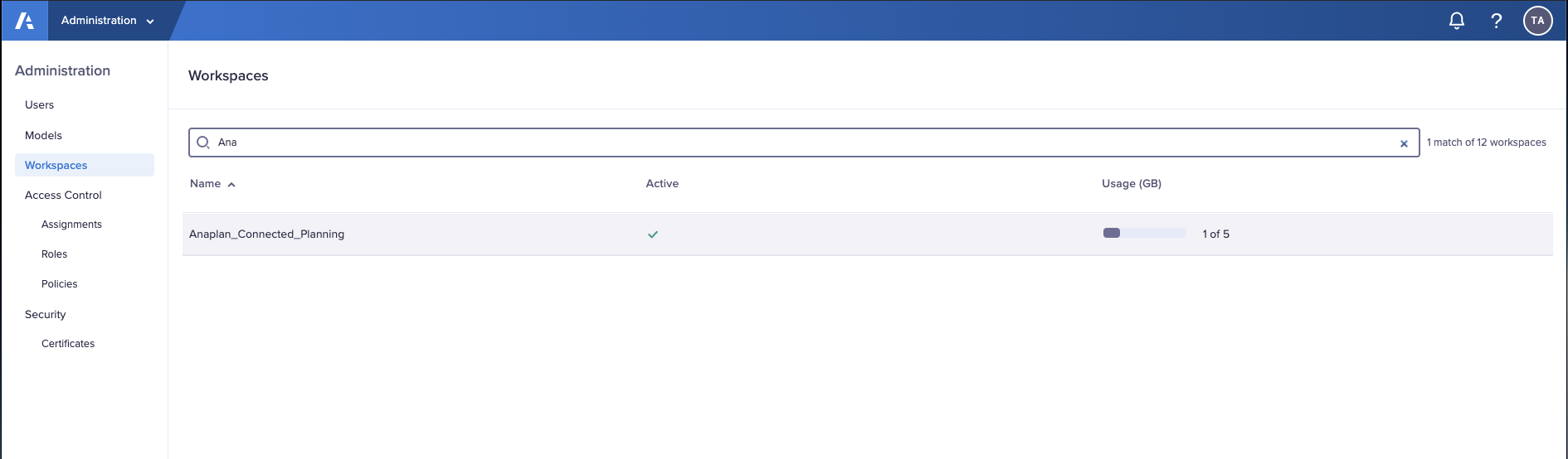 """The search function on the Workspaces tab in the Administration console.  The search filters results based on the letters """"Ana"""" to show only the Anaplan_Connected_Planning entry."""