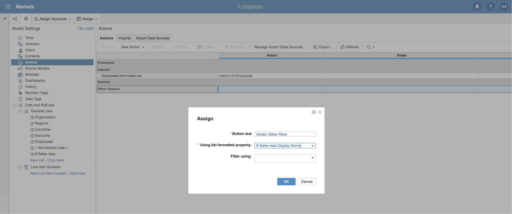 The Assign dialog. There are fields for Button text, Using list formatted property, and Filter using.