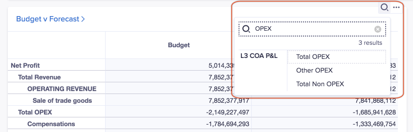 Grid card titled Budget versus Forecast. The magnifying glass icon has been selected and the search term OPEX has been entered into the Find field. Search results display on the dropdown.
