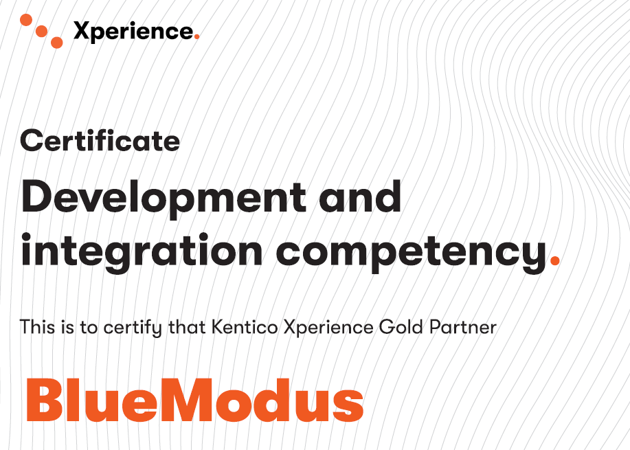 BlueModus Earns Kentico Xperience's Development & Integration Competency