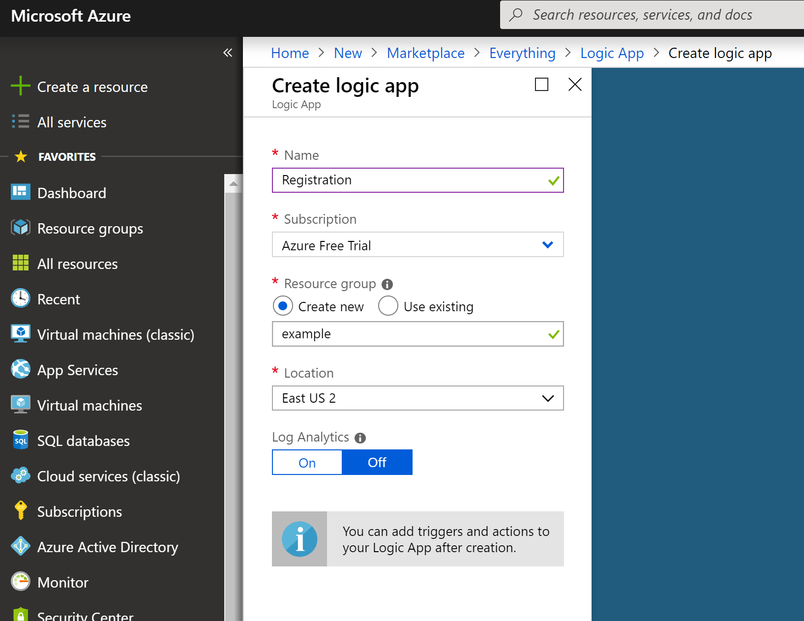Create Azure Logic App