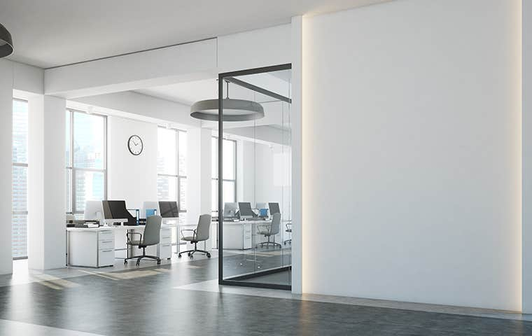 a large white office space