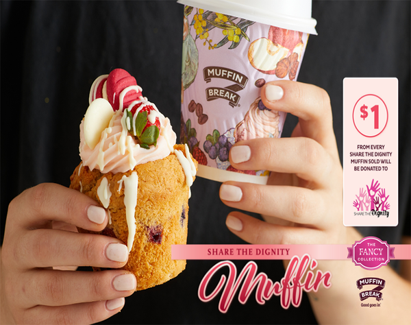 Support Share the Dignity this month at Muffin Break! Grab yourself a Share The Dignity Muffin, topped with Pink Cream Cheese Icing and a Raspberry Bliss Melting Moment – delicious! $1 from every Share the Dignity Muffin sold will be donated to raise funds for Women in need.