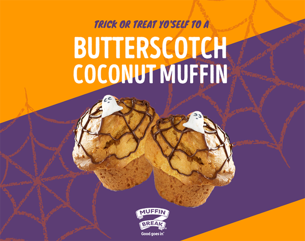 Looking for the perfect Halloween treat? If you're out picking up the groceries, swing by Muffin Break this Halloween and try their Spooky Butterscotch and Coconut Muffin and don't forget to get your FREE Darrell Lea Chocolate sample with every hot beverage on the day of Halloween! Only available for a spooky time!