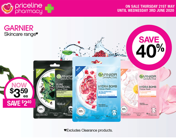 Priceline Pharmacy Hot Offer Details:   •	Save 40% on Garnier Skincare range♥  •	Save ½ price on Olay Skincare range ♥★ •	On sale Thursday 21st May until Wednesday 3rd June, 2020  Disclaimer:  ♥Excludes Clearance products. ★Excludes ProX range.