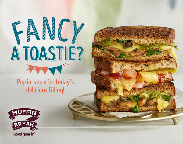 Fancy a Toastie? Try the new Fancy Toastie flavour at Muffin Break! The Croque Toastie is filled with freshly shaved ham, melted swiss cheese, mustard and a touch of cheesy bechamel sauce! Grab any Fancy Toastie and a Charlie's Juice or 600ml Cool Ridge for just $10!