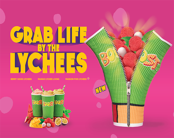Ready to live large? Our new Lychee range is sweet and bold, just like how life should be!  We have 3 delicious flavours with this exotic and refreshing fruit that will make you seize the day! Chuck that hesitation away, time to make your first ballsy move, and zip down to Boost to grab life by the lychees!