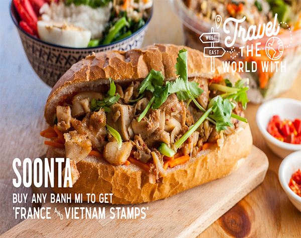 On November, our dishes and countries will be - France and Vietnam: Banh Mi (When France colonised Vietnam, they bring French baguette to Vietnam)   - Japan: Any product with Katsu/Karaage/Teriyaki Chicken filling - Spain: $1 Spanish Paella Sauce