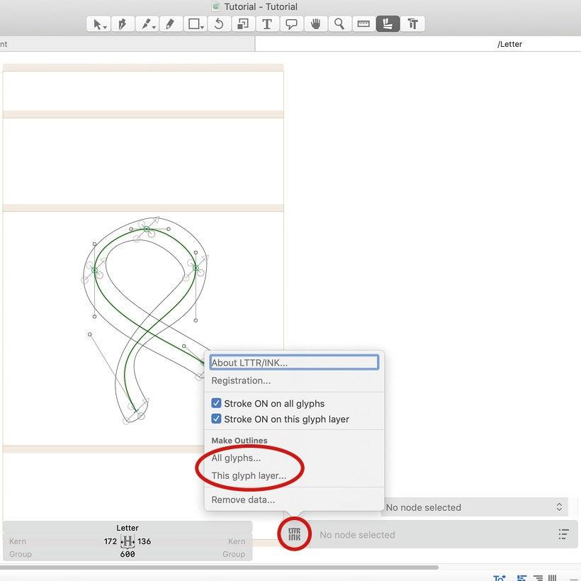 LTTR/INK outline strokes of lettering from stroke to outline
