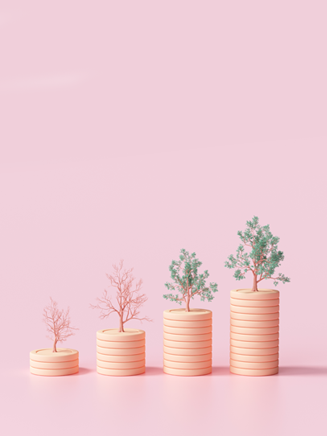 3d minimalist rendering trees grow from coins