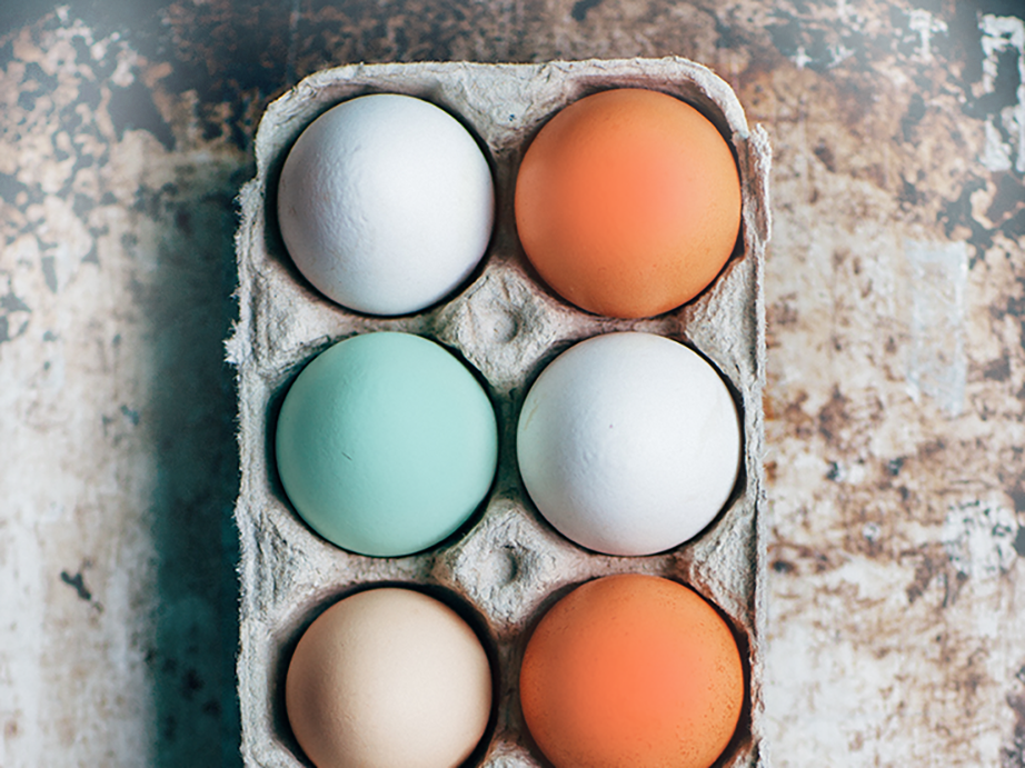 Coloured eggs in carton
