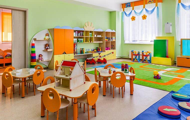 Pre-K children's classroom with toys