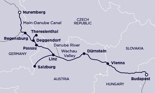 Nuremberg, Regensburg, TTheresienthal, Deggendorf, Passau, Linz, Salzburg, Durnstein, Vienna, Budapest
