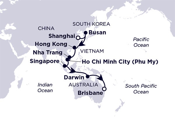 Shanghai, Busan, Hong Kong, Nha Trang, Singapore, Darwin, Brisbane