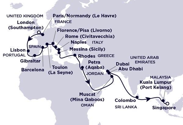 United Kingdom, Portugal, Spain, France, Italy, Greece, Jordan, Oman, United Arab Emirates, Sri Lanka, Malaysia