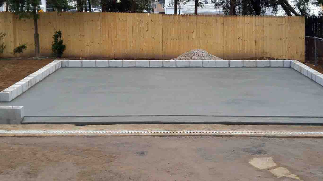 Concrete foundation for outdoor shed