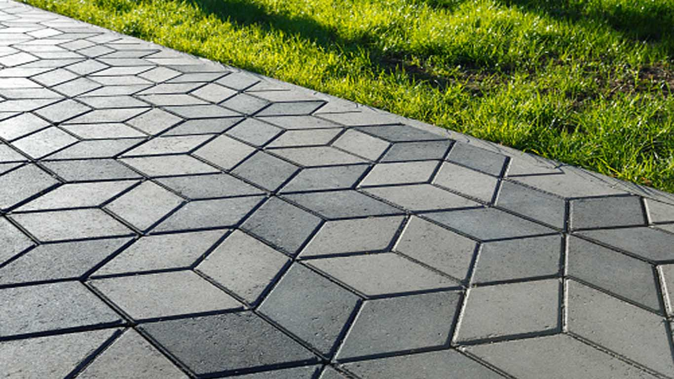 Paved concrete walkway with diamond shapes