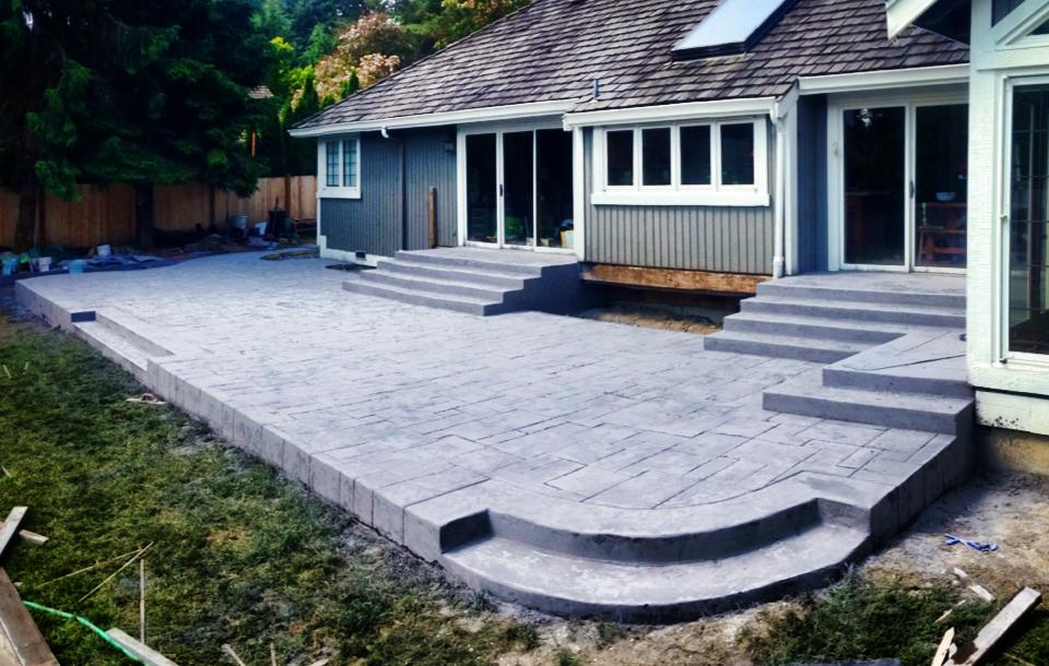 Concrete patio with stairs