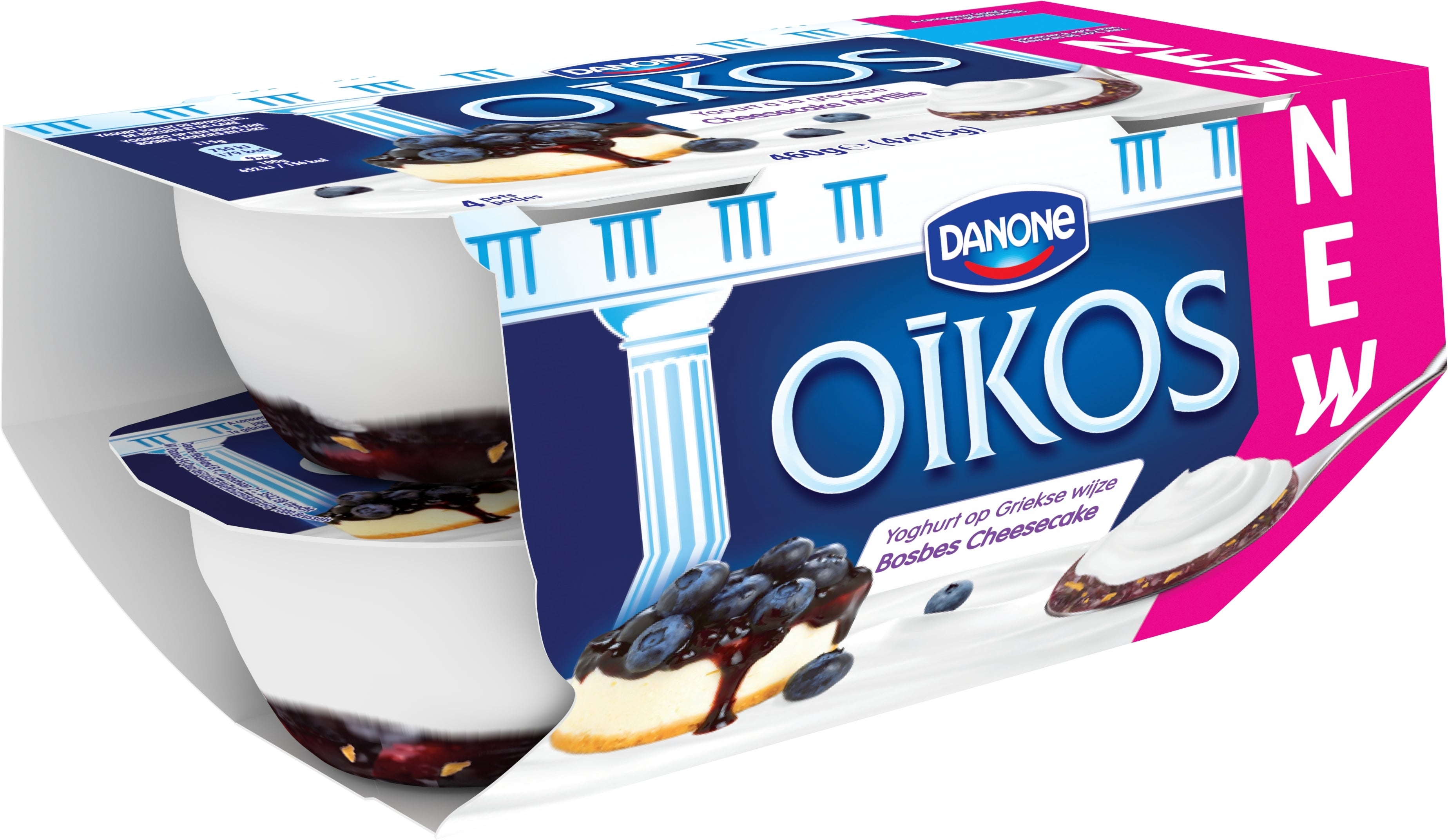 Oikos Volle Yoghurt Cheesecake Bosbes Smaak 4x115g