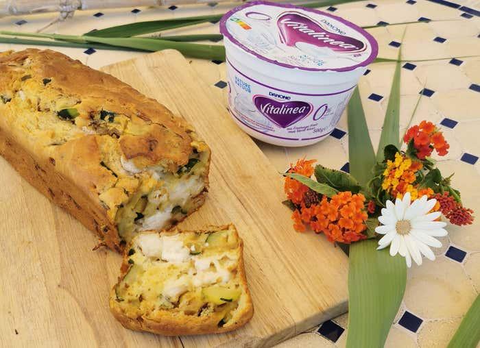 Cake au fromage de chèvre, à la courgette et au Vitalinea au fromage frais 0%