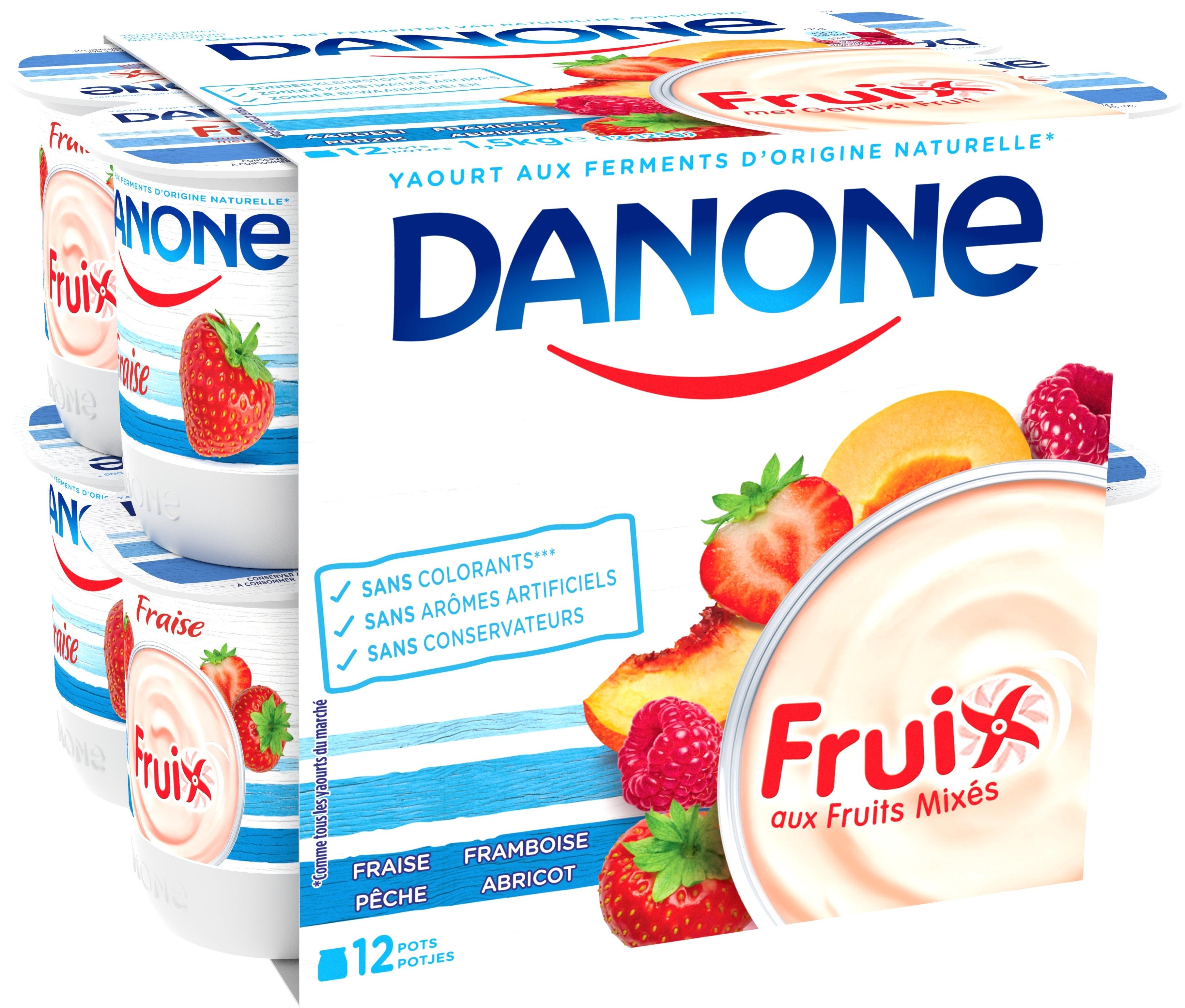 Danone Fruix Yaourt Entier 12x125gr Fruits