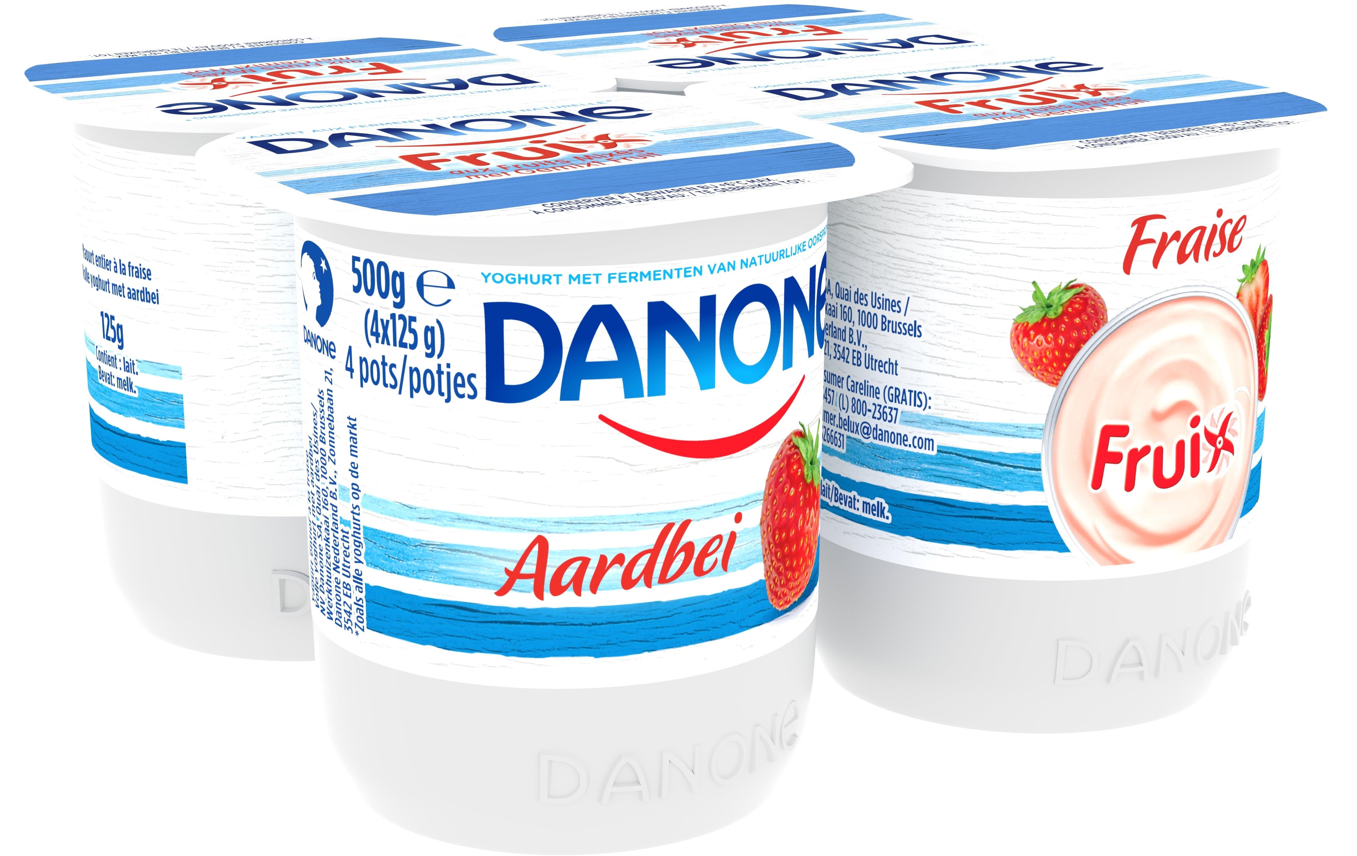 Danone Fruix Yaourt Entier 4x125gr Fraise