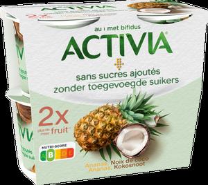 Activia Sans Sucres Ajoutés - Ananas, Noix de coco