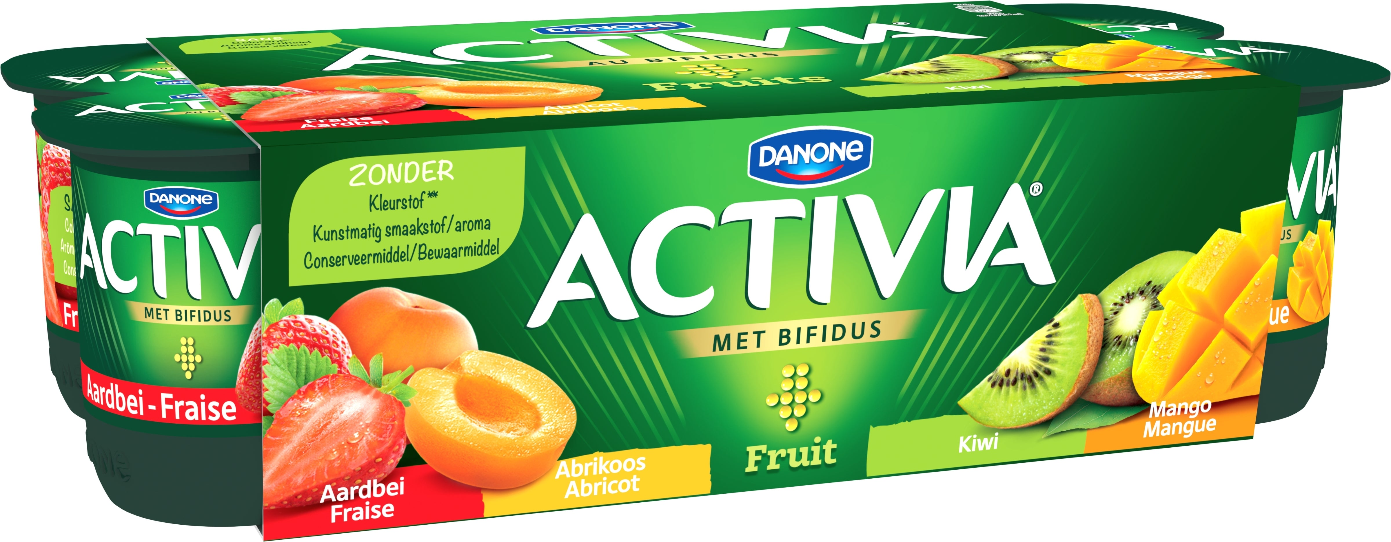 Activia Abricot-Fraise-Mangue-Kiwi 8x125gr