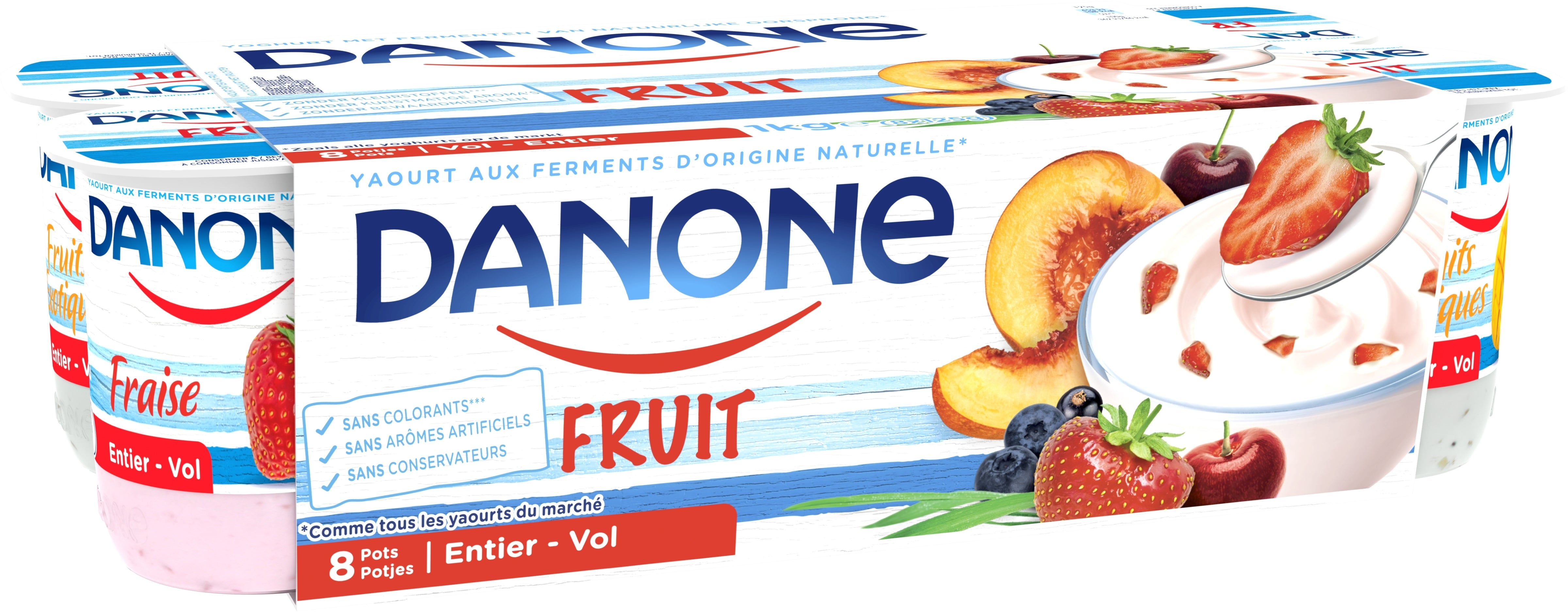 Danone Yaourt Entier 8x125gr aux Fruits