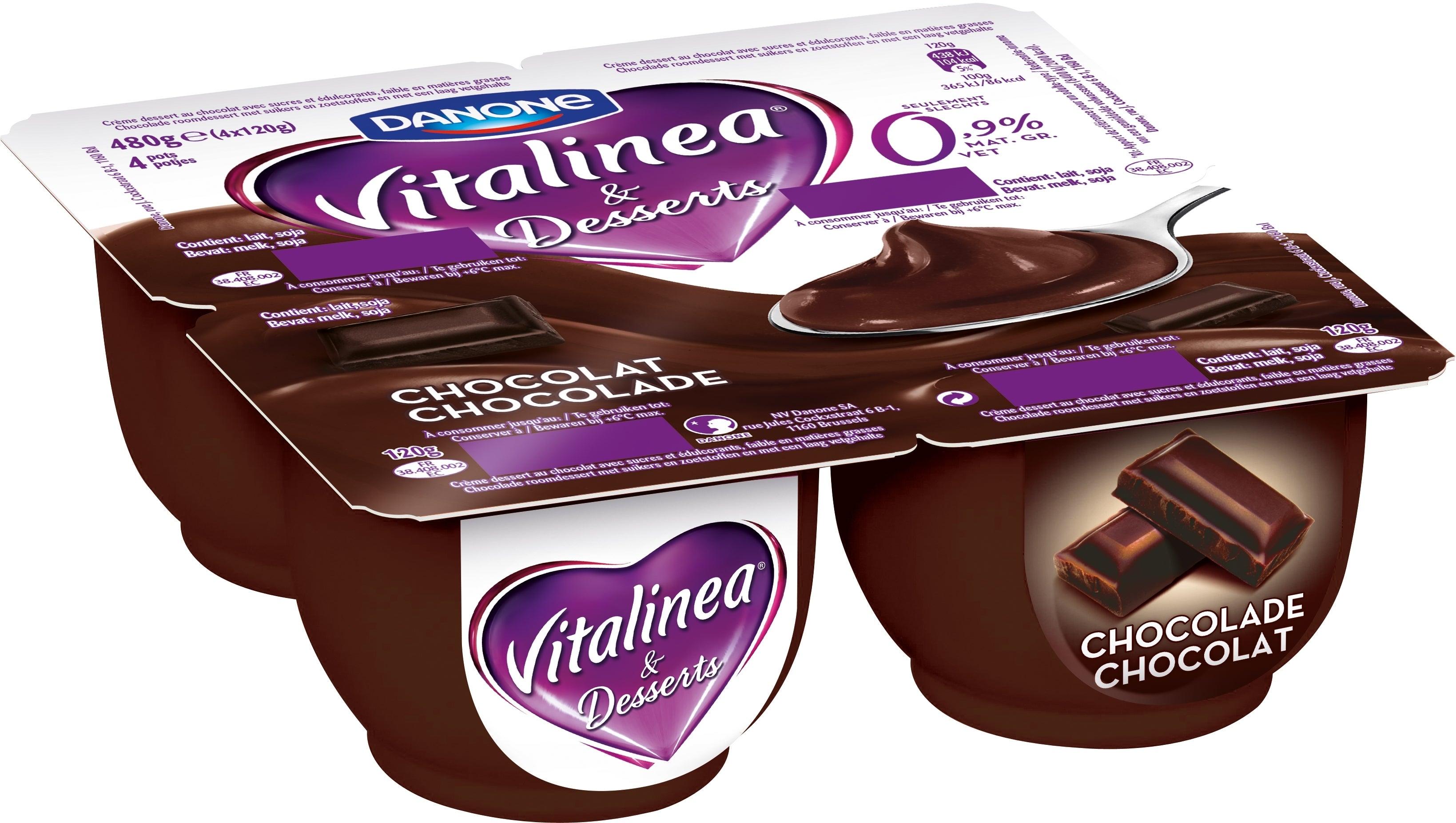 Vitalinea Roomdessert Chocolade 0% 4x120g